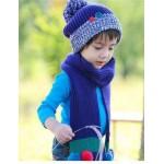 Шапочка+шарф с цветными бумбонами, синий комплект