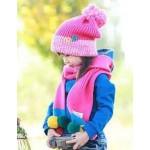 Шапочка+шарф с цветными бумбонами, розовый комплект